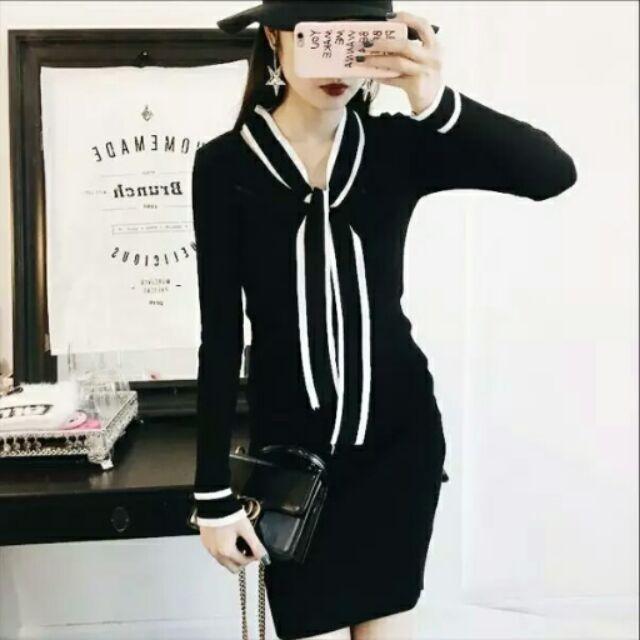 韓國風名媛小香風長袖針織蝴蝶結連衣裙洋裝黑色配色顯瘦無敵氣質款