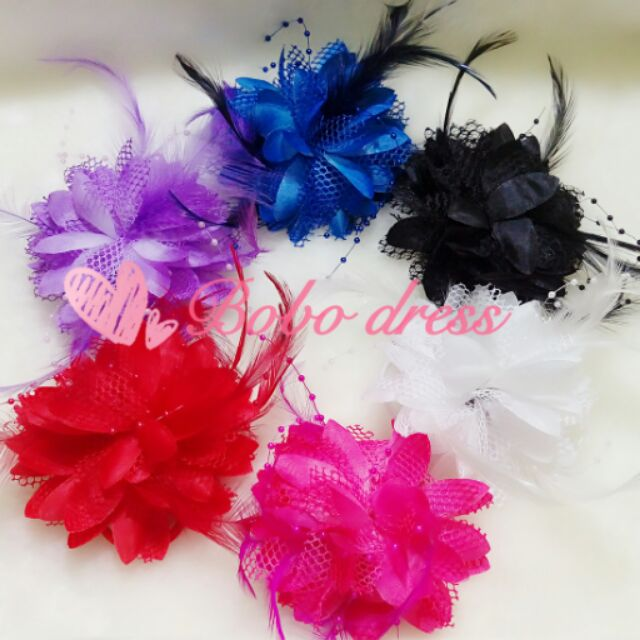 ~Bobo dress ~ 花童新娘頭花髮飾珠珠羽毛 花朵髮夾 寶寶兒童婚紗寫真 舞蹈表演