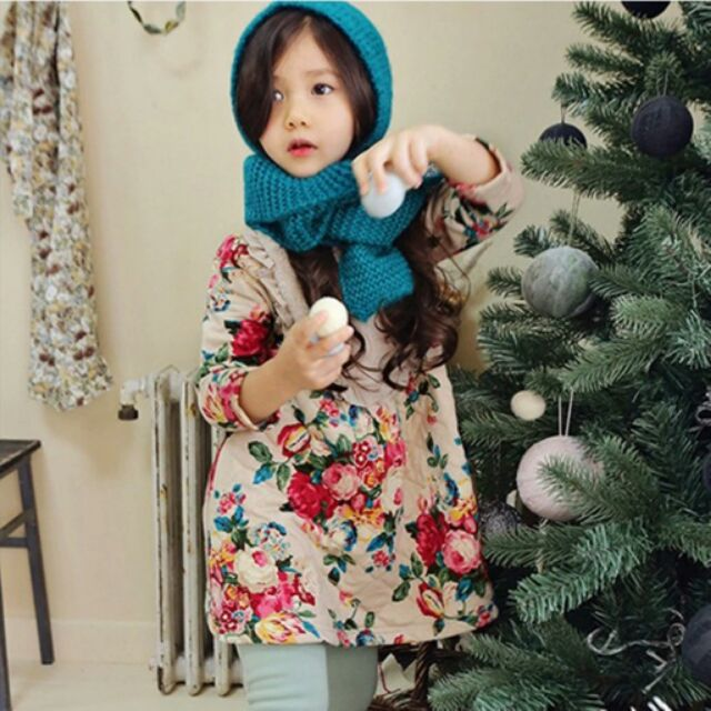新年服碎花加絨加厚洋裝590 390