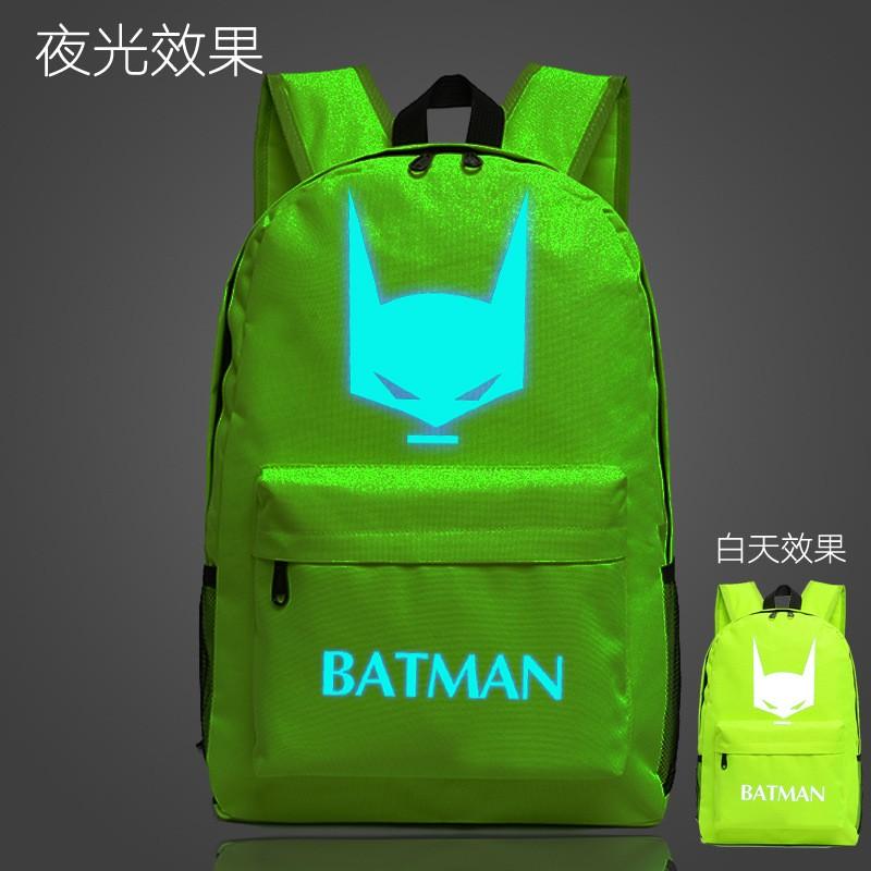 蝙蝠俠夜光雙肩背包男女學生情侶 潮書包背包包包