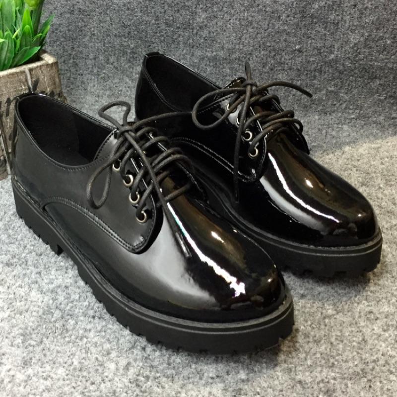 復古英倫漆皮學院風繫帶牛津微厚底學生小皮鞋休閒鞋