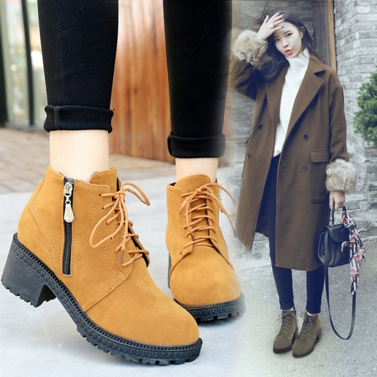 F41 ~Doris 桃樂絲~英倫風粗跟磨砂短靴~絨面綁帶拉鍊繫帶中跟低跟靴子馬丁靴皮靴俐