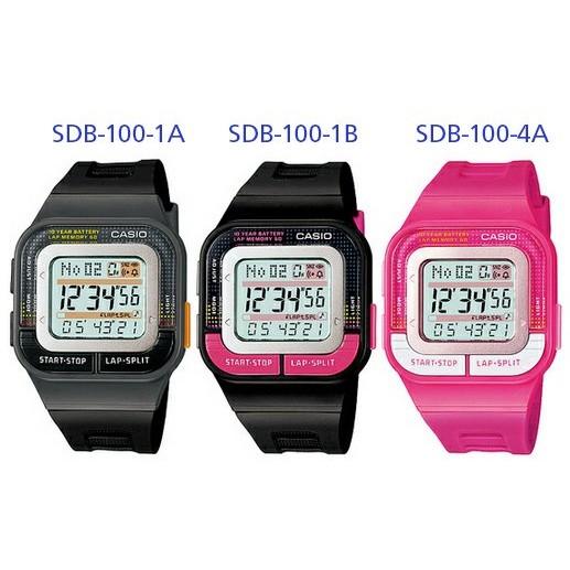 秀CASIO 手錶針對女性 10 年電力慢跑錶SDB 100 1A 1B 可記錄61 組資