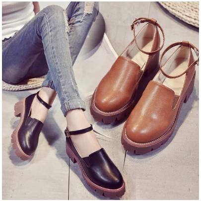 預 鬆糕鞋厚底英倫增高松高鞋學院風英倫復古小皮鞋圓頭靴子瑪麗珍鞋裸靴短靴