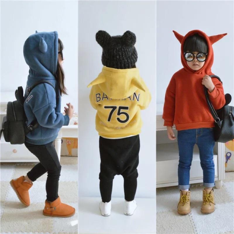 女童男童兒童小童寶寶惡魔角牛角字母數字刺繡長袖連帽上衣衛衣batman 蝙蝠俠加厚加絨