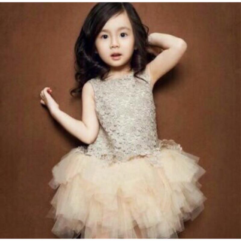 〈 降價 不再進〉 女童禮服裙公主裙蓬蓬裙連衣裙花童婚紗演出服背心連衣裙香檳色
