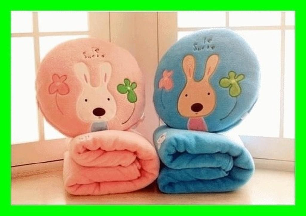 ~NFO ~卡通珊瑚絨折疊空調抱枕被兒童毯子抱枕兩用靠墊空調毯夏涼被靠背