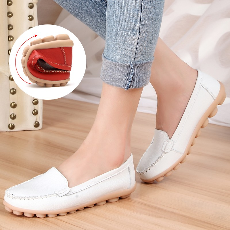 平底小白鞋真皮媽媽鞋大碼女鞋白色護士鞋豆豆鞋 孕婦單鞋