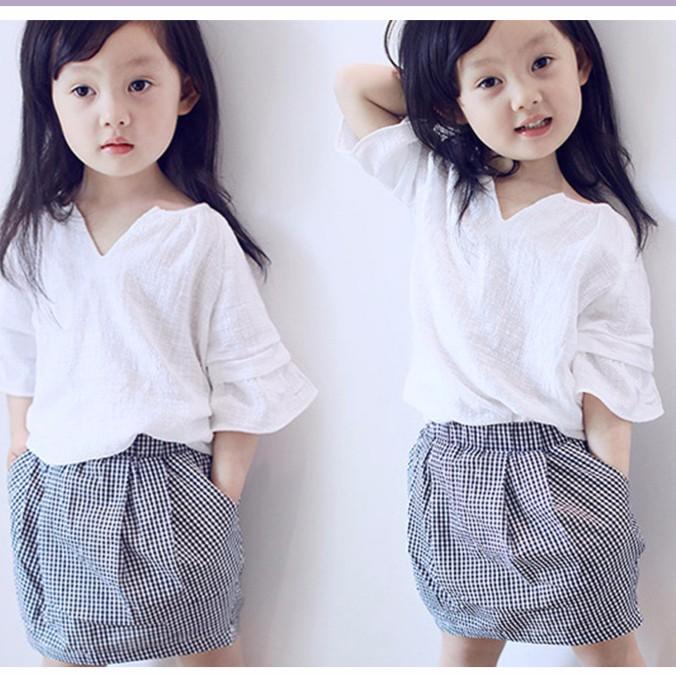 2016 新品女童女寶寶氣質V 領短袖上衣格子短裙套裝兩件組 加