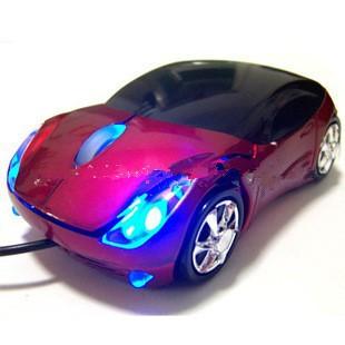 可愛法拉利賽跑車USB 電腦筆記本卡通平板有線滑鼠