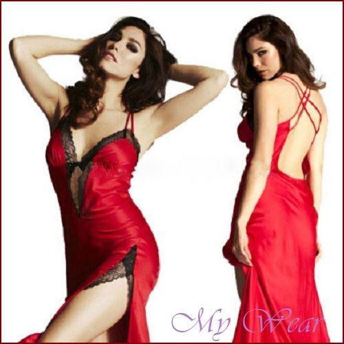 紅色性感睡裙深V 低胸性感女款睡衣FC 0224