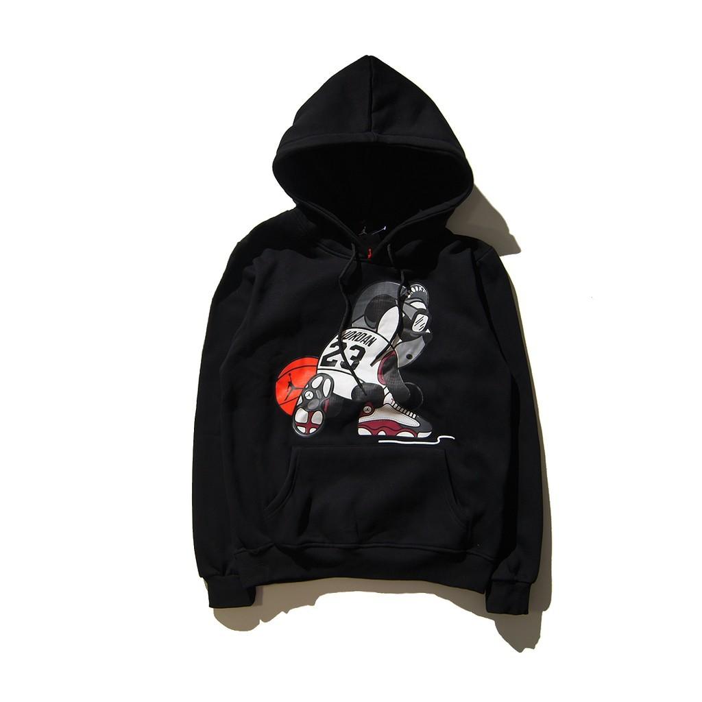 潮牌AJ Jordan 喬丹飛人熊貓打籃球印花連帽抓絨純棉套頭衛衣23 號AJ 加絨衛衣連