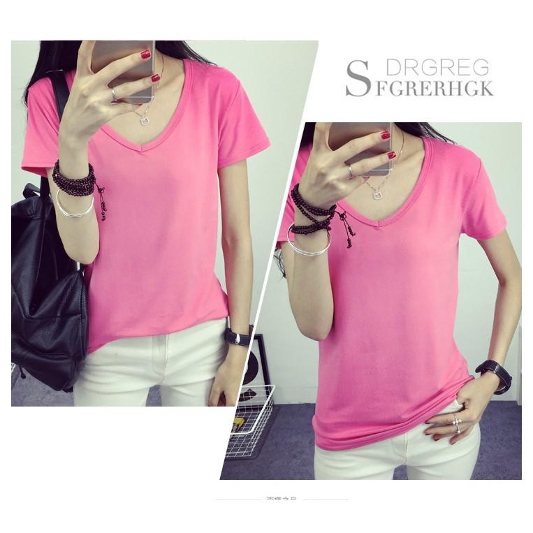 秒發New product2016 女式V 領短袖t 恤女修身女裝純色打底衫 糖果色女士T
