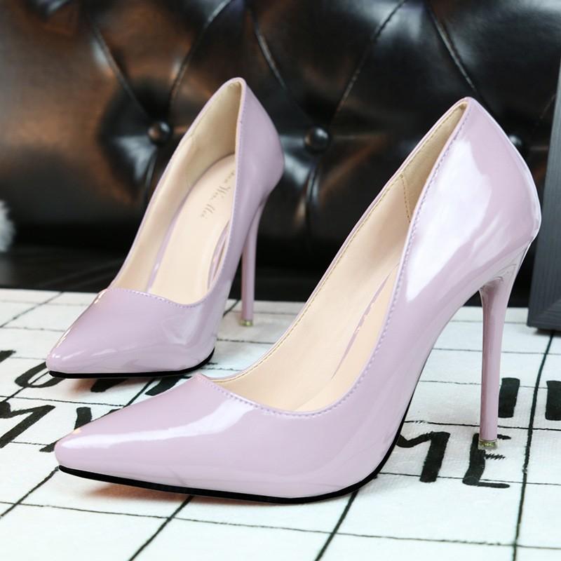 ~販賣美好~1132 1  秀氣簡約OL 職業細跟超高跟淺口尖頭性感顯瘦女單鞋