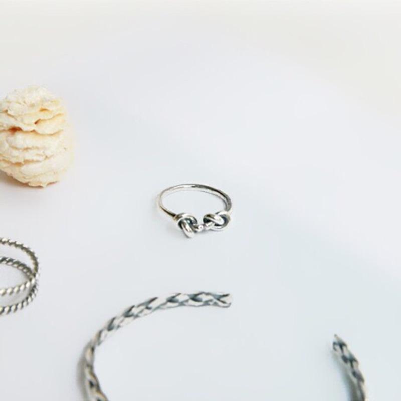 微復古 雙結純銀開口戒指