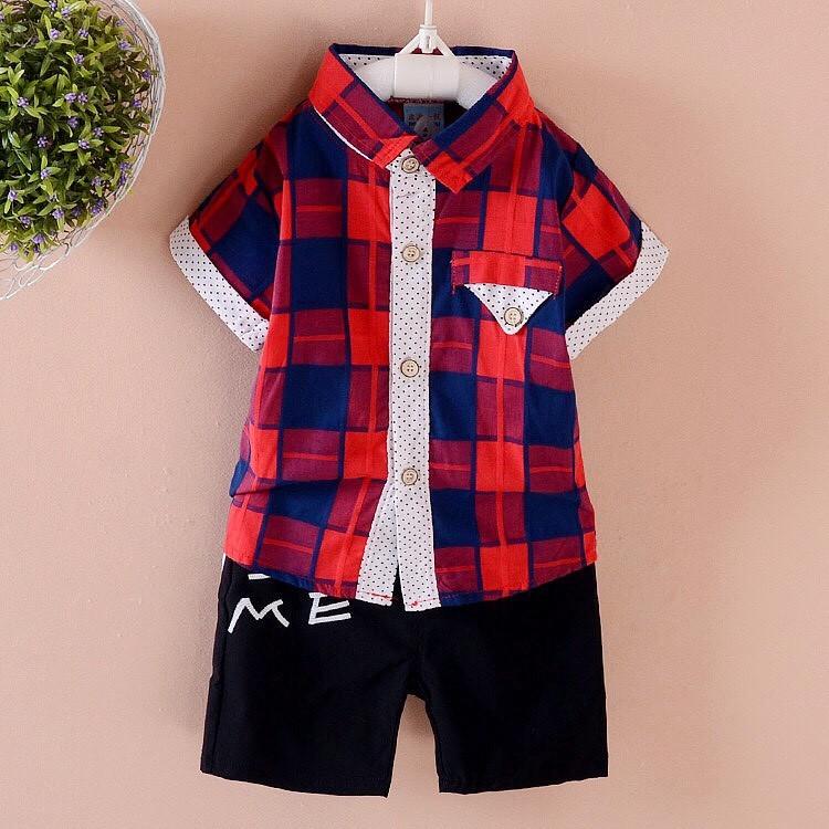 套裝短袖格子襯衫開扣 幼童男童女童春裝夏裝70 110 1 6 歲紅藍綠