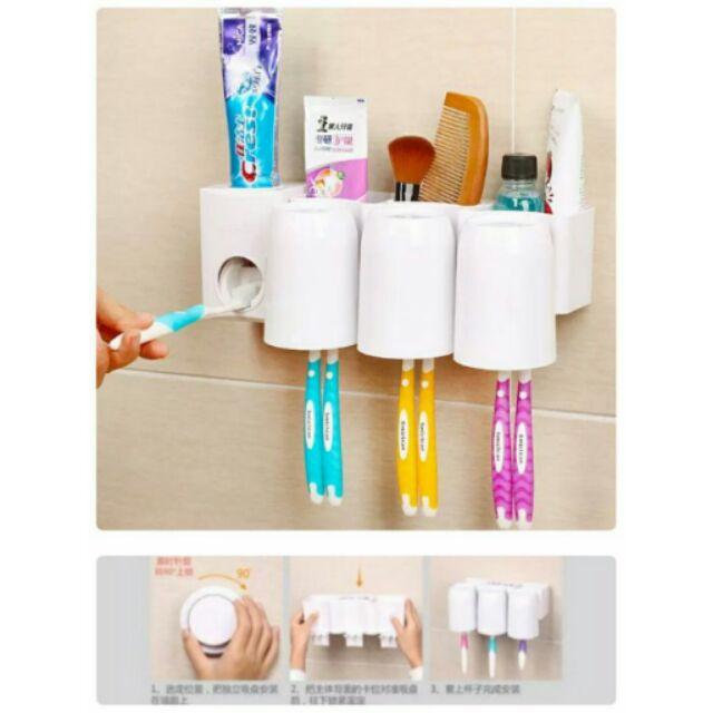吸盤牙刷架牙膏座 三口杯子真空擠牙膏自動擠牙膏三杯架套裝漱口杯收納盒吸盤浴室免鑽孔