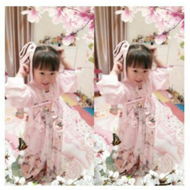 款 女童漢服櫻花小蘿莉同款古裝齊胸襦裙表演服