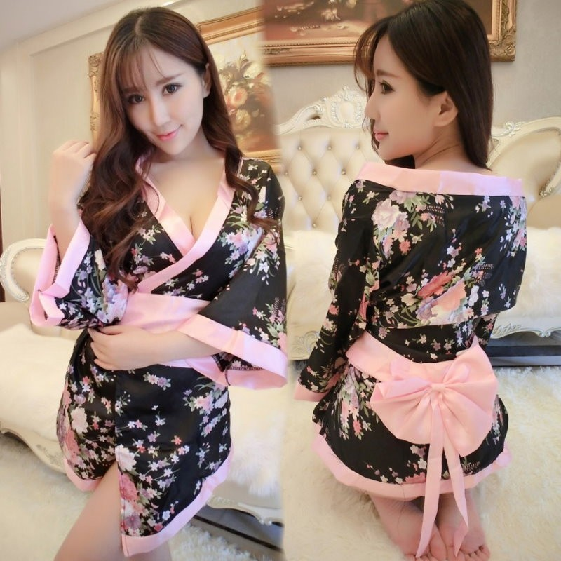 黑粉色日式和服浴衣腰封連身衣角色扮演服前綁帶開衫睡衣1218 情趣性感COSPLAY 情趣
