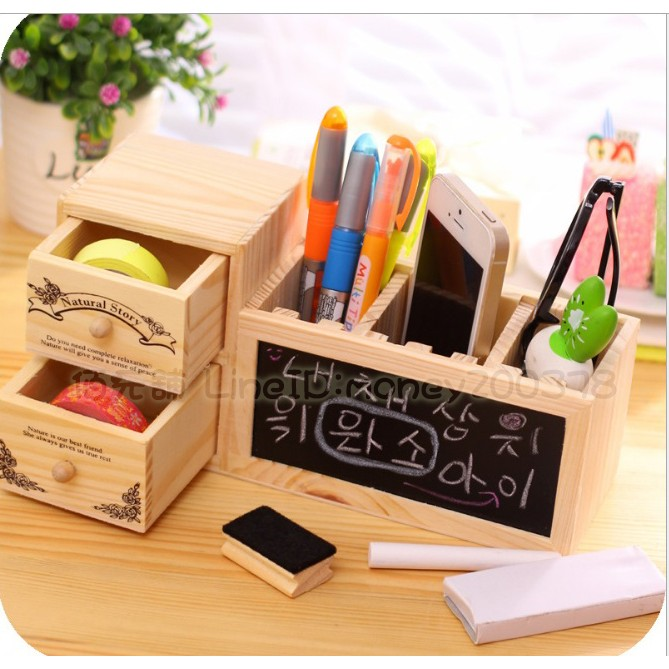 韓國木製收納盒筆筒鉛筆盒居家擺設裝飾黑板抽屜櫃子板擦粉筆