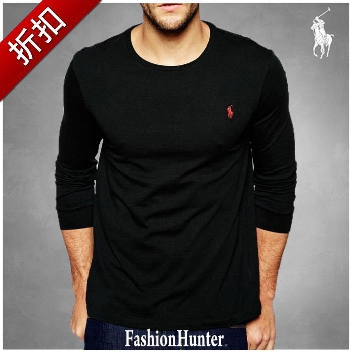 折扣~FH cc ~Polo Ralph Lauren 圓領素面長袖T 恤素t 海軍藍底紅