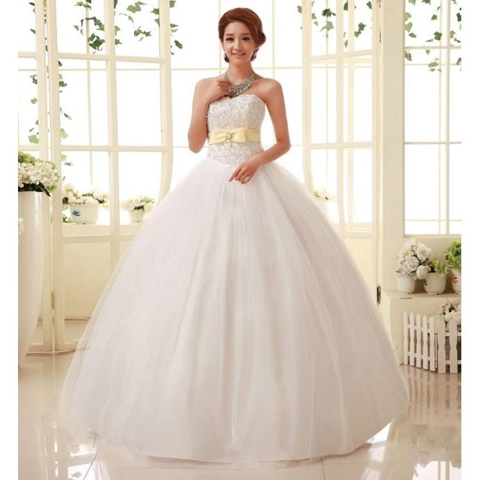 ~有大碼可訂做~19133629562 齊地婚紗綁帶韓式修身hy 婚紗簡約宮廷復古新娘婚紗