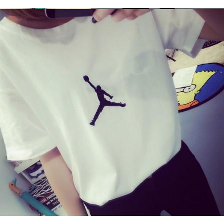 ✨奈兒 ✨港風簡約AJ 短袖女t 恤情侶款喬丹logo 黑白純色T 恤女裝可愛簡約炫酷
