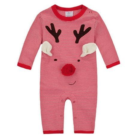 momscare 麻麻愛正品精梳棉長袖立體圖案麋鹿連身衣兔裝棉質非常好很 寶寶細嫩皮膚