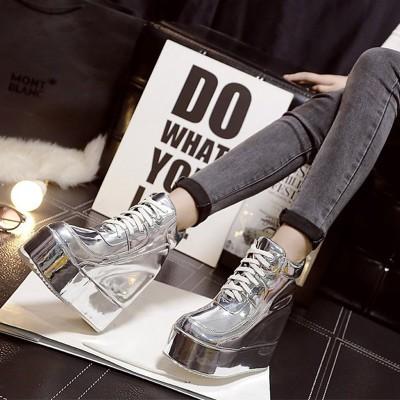 坡跟短靴學院風秋 厚底防水臺內增高馬丁靴系帶超高跟鞋單靴女