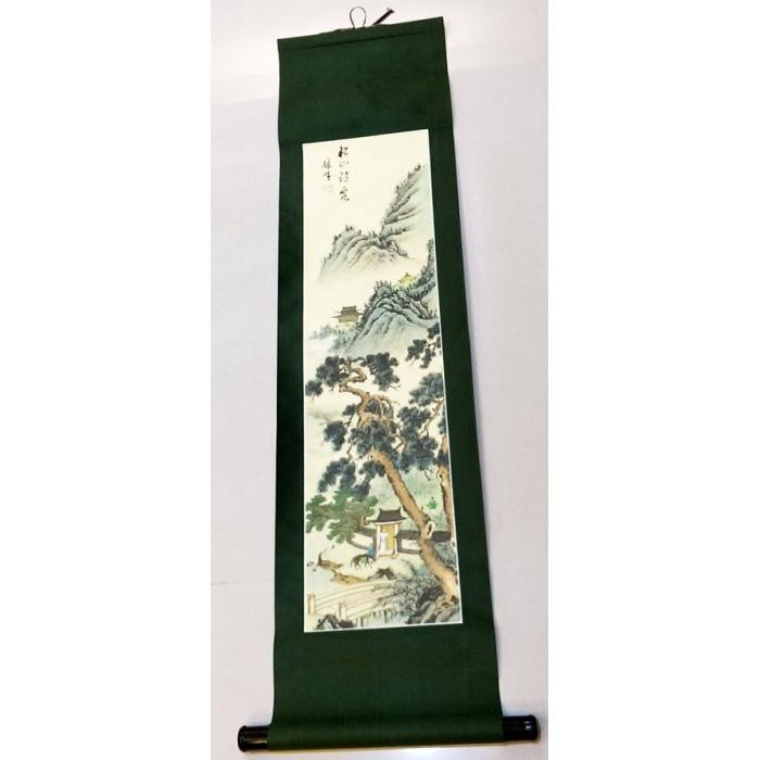 國畫名家林生山水畫松山沾雪長掛軸卷軸畫軸山水圖風景畫花鳥畫古畫古董畫