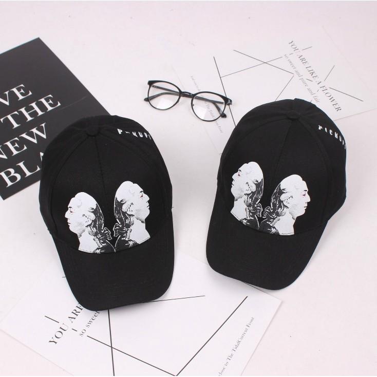 韓國潮流 人物圖像字母純色彎檐鴨舌帽休閒帽棒球帽老帽