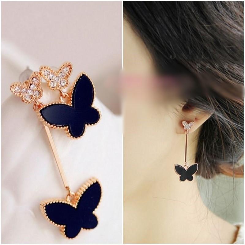 ♡sweetwing ♡ 精緻氣質百搭黑色蝴蝶不規則水鑽 夾式耳環耳扣耳夾
