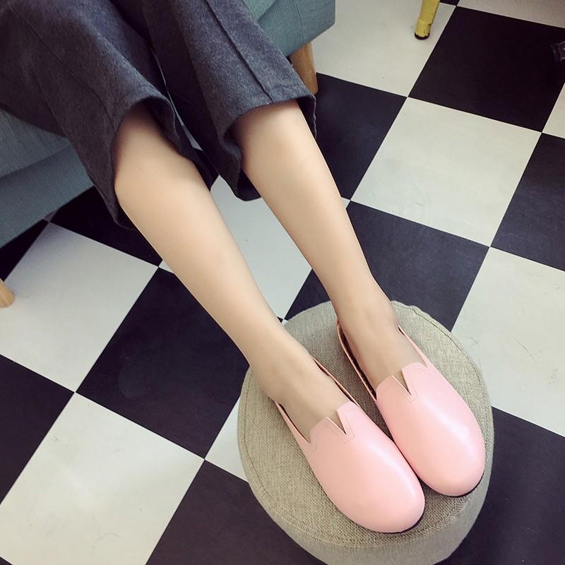 日系復古奶奶鞋真皮軟底圓頭平底單鞋懶人鞋女淺口森女鞋