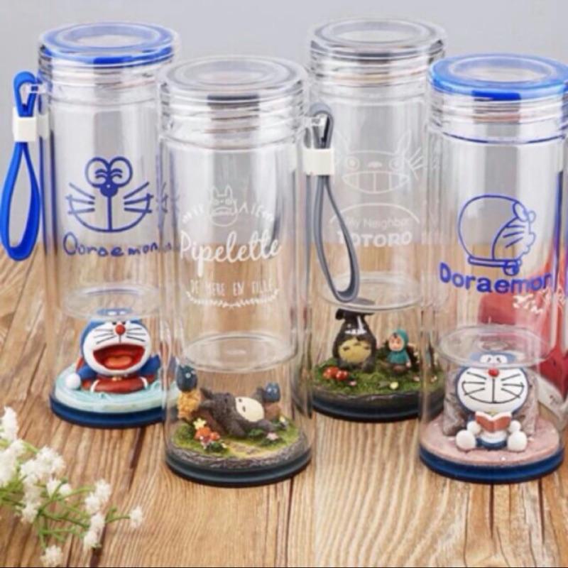✨ 好 ✨➡️ ⬅️療癒系~微景觀透明雙層隔熱龍貓哆啦a 夢玻璃帶蓋水杯