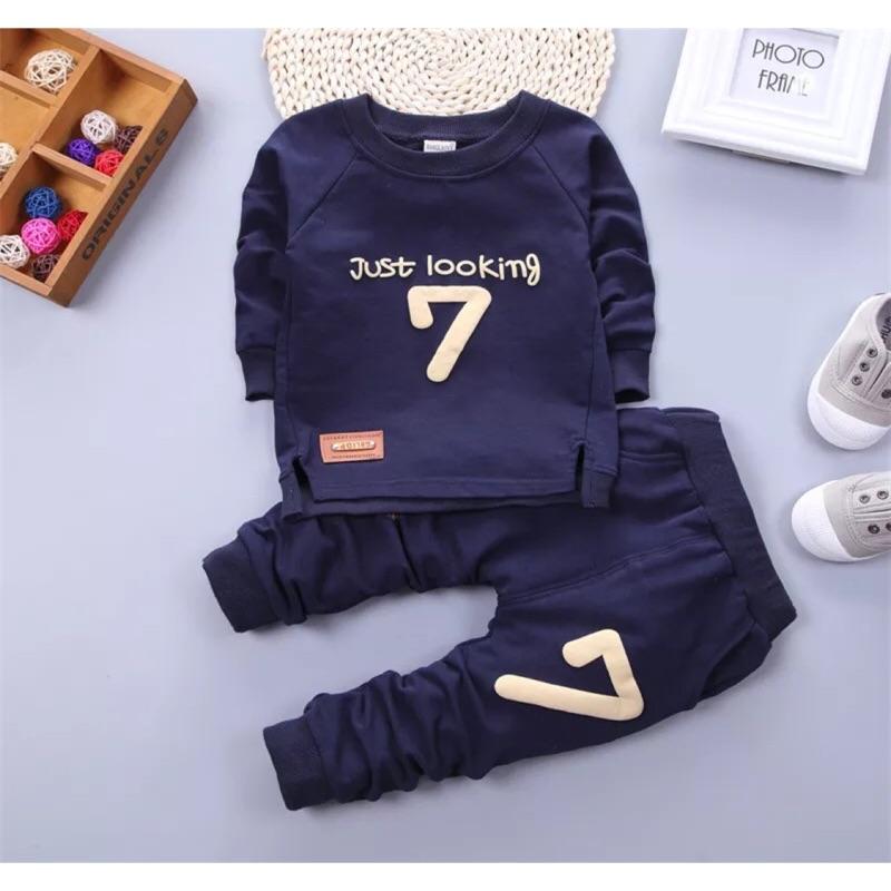 2016  男女寶寶可開檔春秋長袖7 字套裝嬰兒中小童套頭潮