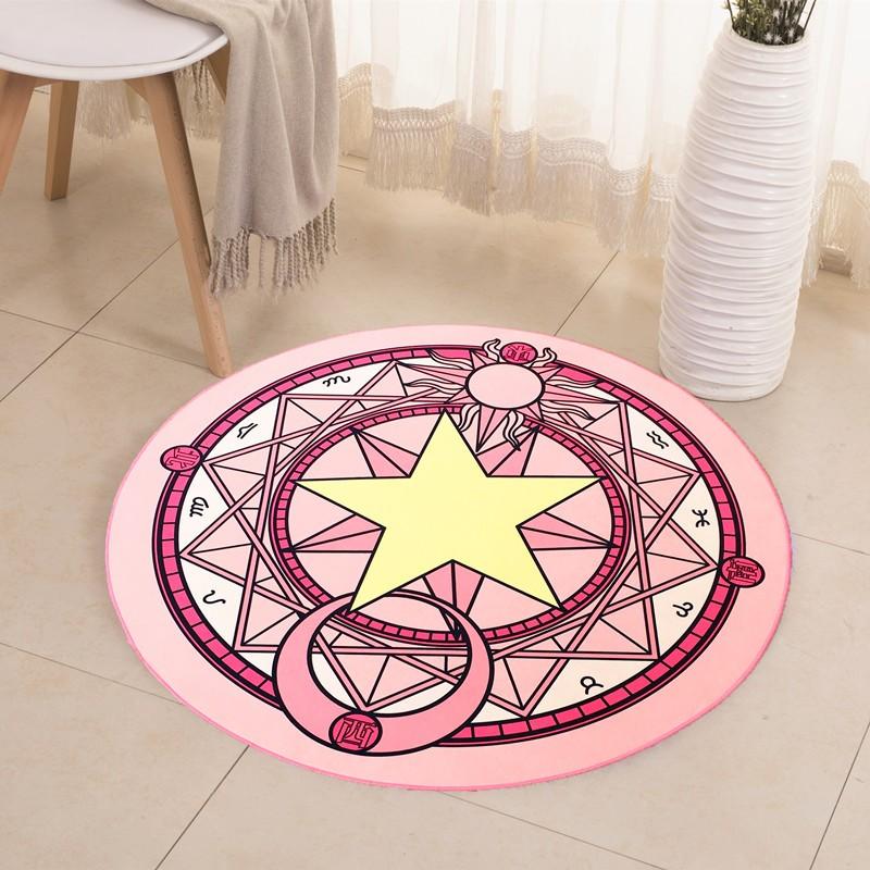 實拍小櫻可愛粉色拍照魔法陣圓形地毯兒童臥室床邊衣帽間地毯電腦椅墊