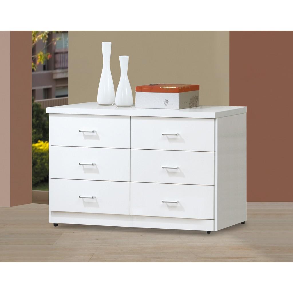 ~ 傢俱~純白色4 尺六斗櫃抽屜櫃收納置物櫃子玄關櫃二色 ~桃園以北免 ~