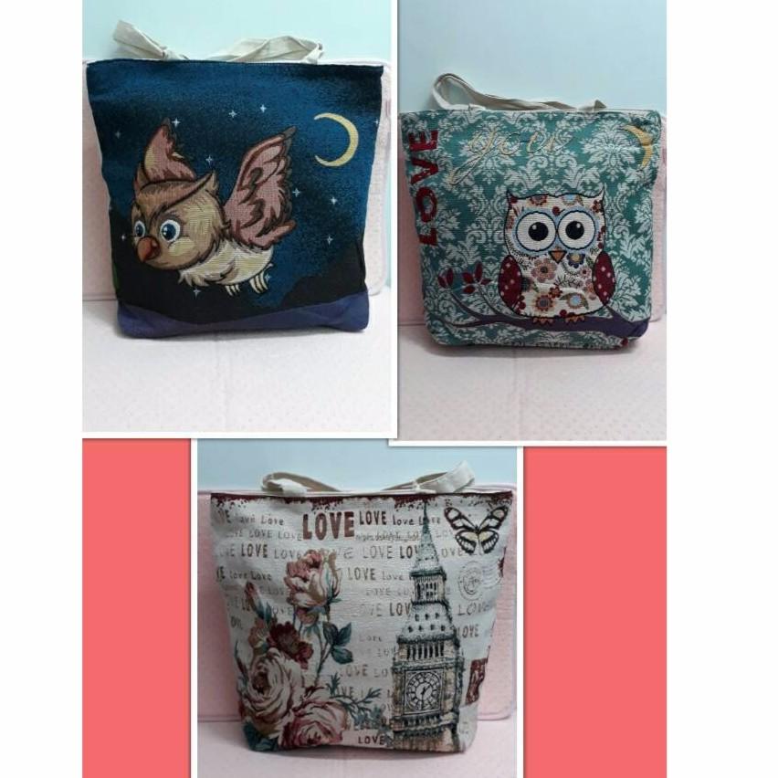 貓頭鷹英倫玫瑰刺繡托特包側背包媽媽包辦公包書包無修圖,婷哥親自下海圖片示範