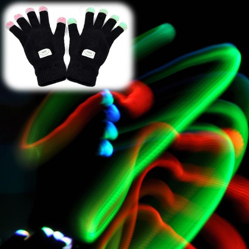 7 模式LED 燈的Rave 手指燈閃爍手套手套夜光黑