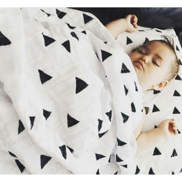 品牌INS 爆款muslin 棉活性印花紗布蓋毯嬰兒包被浴巾有機棉嬰兒紗布包巾繈褓浴巾床單