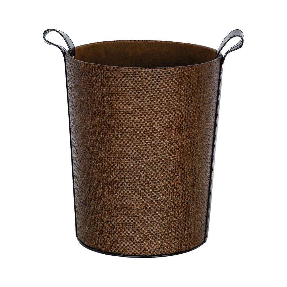 GRAS 深棕色典雅編織紋圓型垃圾桶塑膠 編織垃圾桶圓形垃圾桶圓桶收納桶圖桶雜物桶垃圾筒