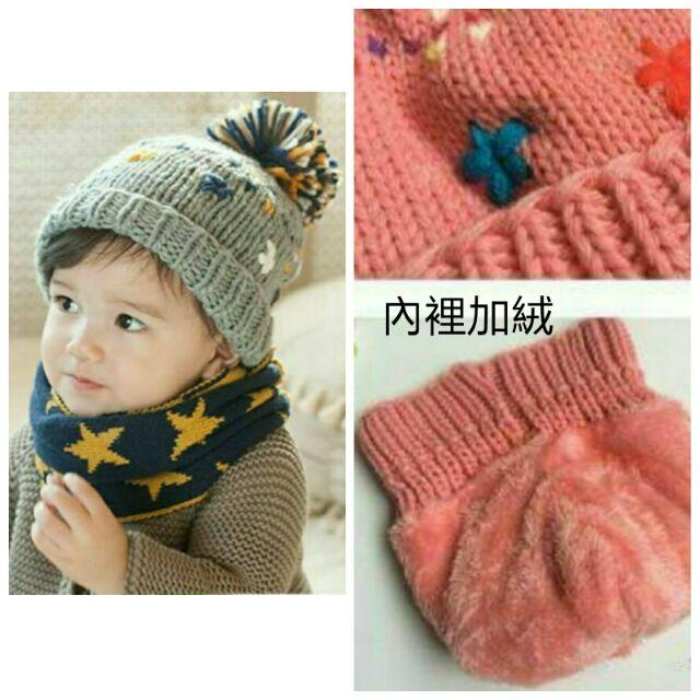 雪花加絨加厚寶寶毛帽兒童毛帽共6 色