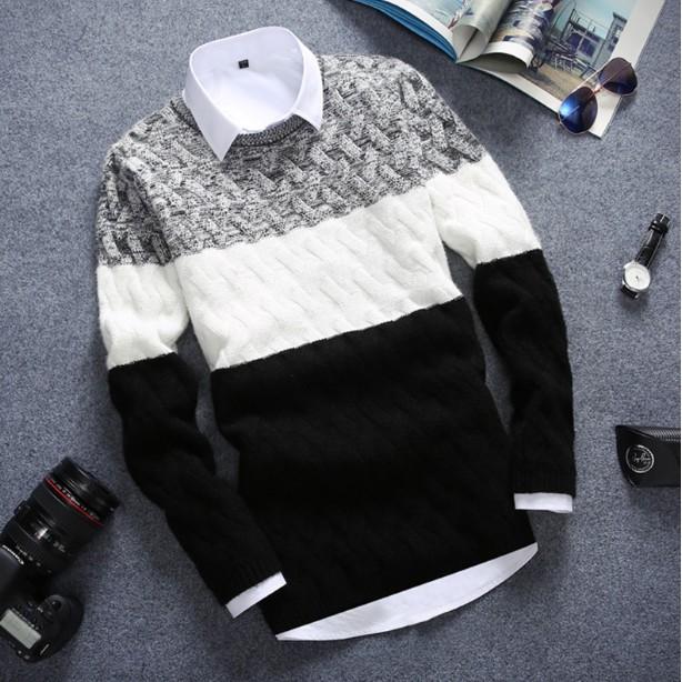 針織衫買一送一送襯衫)襯衫 毛衣男圓領套頭青少年 潮流線衣外套針織衫男長袖上衣男裝上衣