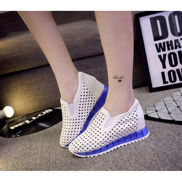 鏤空小白鞋 透氣網鞋內增高樂福鞋 鞋女