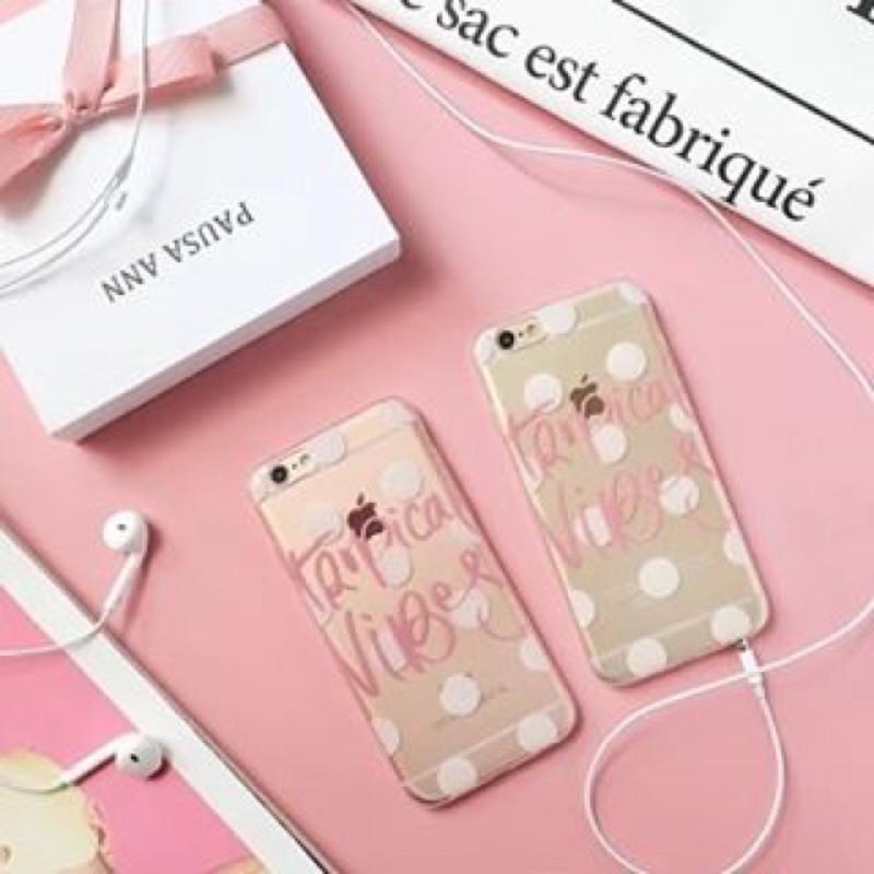 韓國 款粉嫩點點粉紅英文字透明手機殼透明全包軟殼iphone6s plus