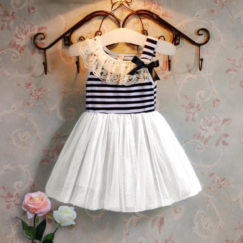 兒童女童連衣裙夏條紋蕾絲領公主裙背心裙