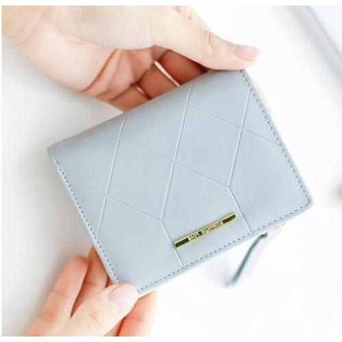 幾何菱格紋兩折短夾皮夾錢包零錢包