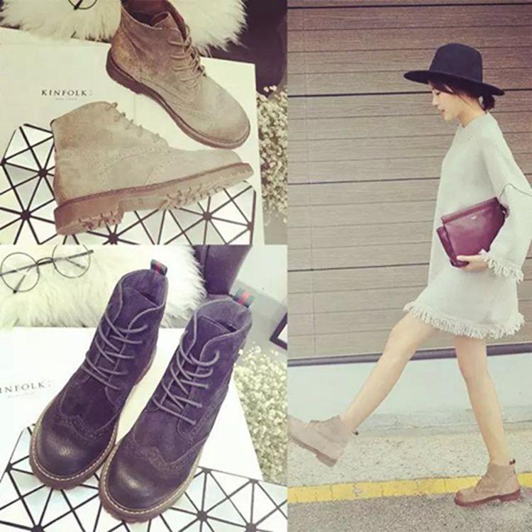 馬丁靴女靴子磨砂擦色短靴英倫復古中跟短筒靴裸靴單靴高幫鞋