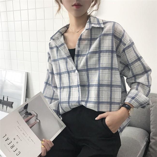 【 】 寬鬆大碼顯瘦格子格紋長袖襯衫襯衣女秋裝上衣外套韓風