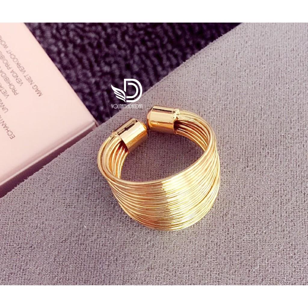 ~A070 ~ 食指戒指開口可調節寬指環鋼絲纏繞圈圈